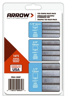 Staples Multi-Pack, 1/4, 3/8 & 1/2-In, 625-Pk. Of Each