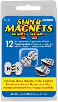 Super Neodymium Disc Magnets with Adhesive .375