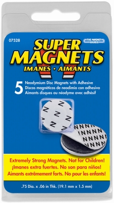 Super Neodymium disc magnets with foam adhesive, .75