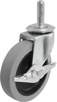 TPR Threaded-Stem Caster With Brake, 3-In.