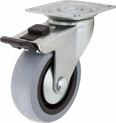 TPR Swivel Caster With Brake, 2-In.