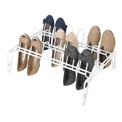 Floor Shoe Rack, Resin, White, 16 x 22.5 x 9-In.
