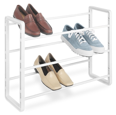 9-Pair Stacking Shoe Rack, White