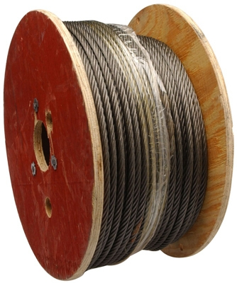 WIRE ROPE,1/4X500',6X19 Fiber Cre black