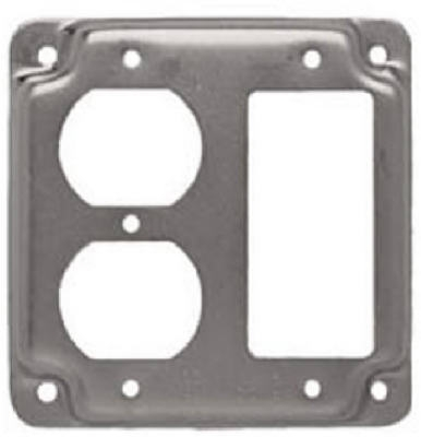 4-Inch Flat Corner Exposed Work Square Single GFI & Duplex Receptacle Box Cover