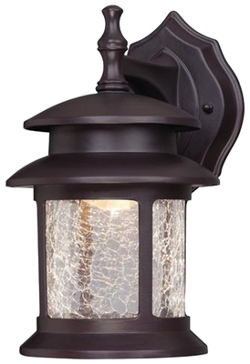 LED Wall Lantern, Outdoor, Oil-Rubbed Bronze With Crackled Glass, 9-Watt.