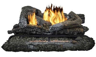 Fireplace Log Set With Remote, Dual Fuel, Vent-Free, 33,000-BTU, 24-In.