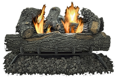 Gas Log Set, Thermostat, Dual Fuel, Vent-Free, 30,000-BTU, 24-In.