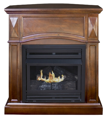 Belmont Gas Fireplace, Vent-Free, Vintage Cherry Finish, 20,000-BTU