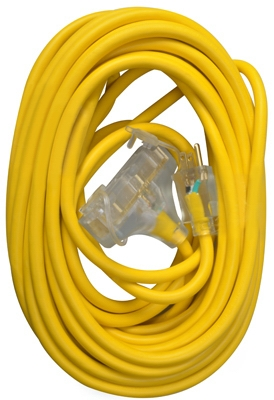 Extension Cord, 12/3 SJTW Yellow 3-Outlet, 50-Ft.