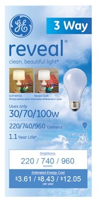 Reveal A-Line Light Bulbs, 3-Way, 30/70/100-Watt, Must Purchase in Quantities of 12
