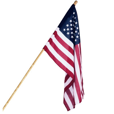 U.S. Flag Set, Polycotton, 5-Ft. Wood Pole, 2.5 x 4-Ft.