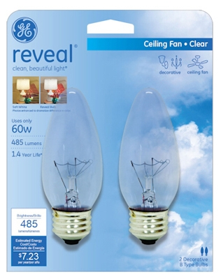 Reveal 60-Watt Clear Decorative Bulbs, 2-Pack