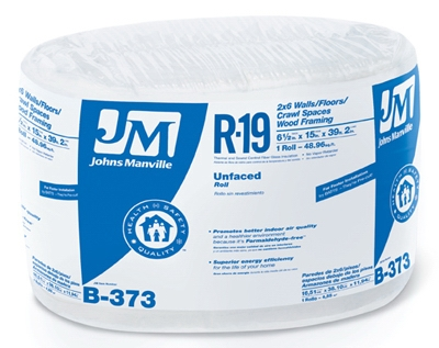 R19 Unfaced Fiberglass Insulation, 48.96 Sq. Ft. Coverage, 6.5