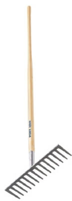 Pony 15-1/2 Inch Road/Stone Rake With 66-Inch Handle