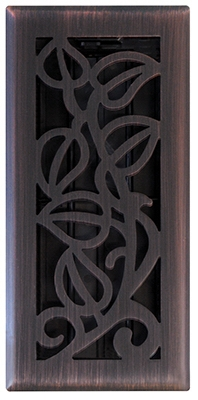 Vine Floor Register, Oil Rubbed Bronze, 4 x 12-In.