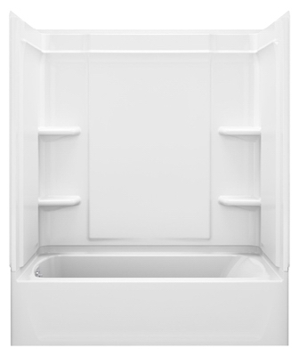 Medley Bathtub, Right-Hand Drain, High Gloss White, 60 x 30-In.