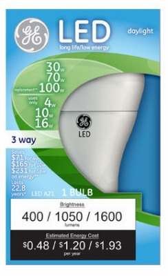 3-Way LED Light Bulb, Daylight, 4/10/16-Watt