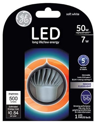 LED Flood Bulb, PAR20, Medium Base, 7-Watt