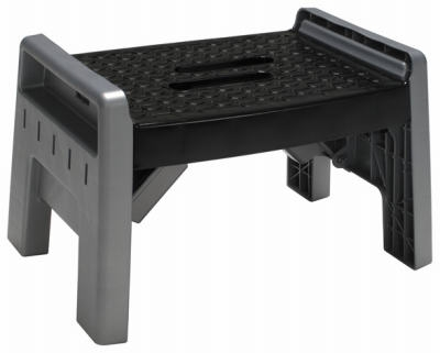 Folding Stool, Black/Platinum Plastic
