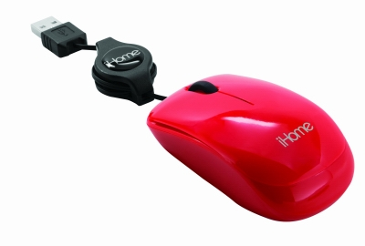 Retractable USB Travel Mouse, Red