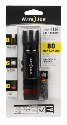 3-In-1 Mini LED Flashlight, Black