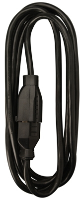 Extension Cord, 16/2 SJOW Black Round Vinyl, 15-Ft.
