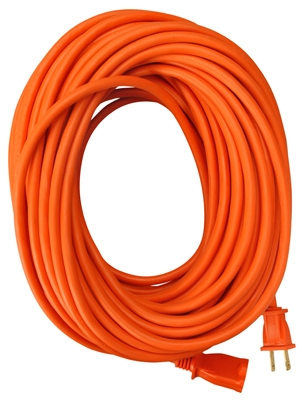 Extension Cord, 16/2 SJTW Orange Round Vinyl, 100-Ft.