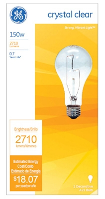 General Purpose Light Bulb, Clear, 150-Watt, Must Purchase in Quantities of 12
