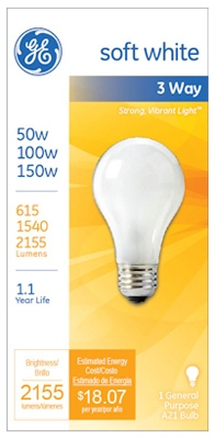 3-Way Soft White Light Bulb, 50/100/150-Watt
