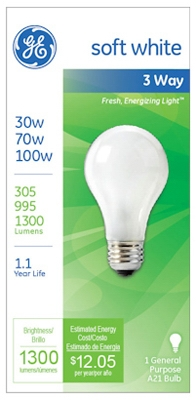 3-Way Soft White Light Bulb, 30/70/100-Watt