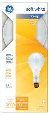 100/200/300-Watt 3-Way Soft White Light Bulb