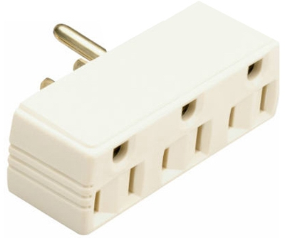 15A Ivory Plug In Triple Outlet Adapter