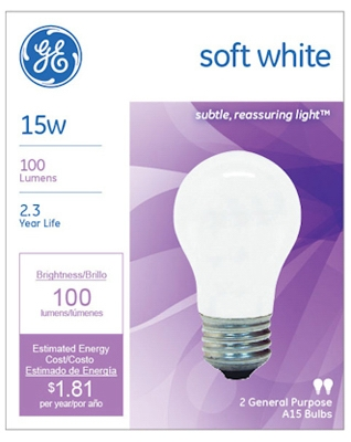 Soft White Light Bulbs, 15-Watt, 2-Pk., Must Purchase in Quantities of 12