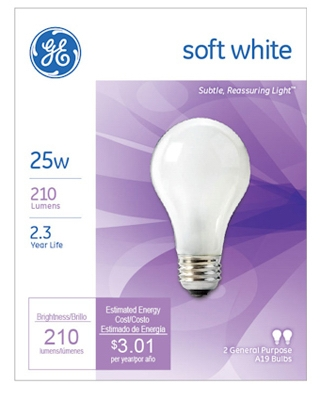 Soft White Light Bulbs, 25-Watt, 2-Pk., Must Purchase in Quantities of 12