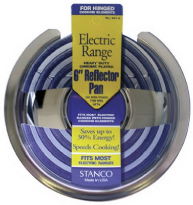 Electric Range Reflector Pan, Fixed-Element, Chrome, 6-In.
