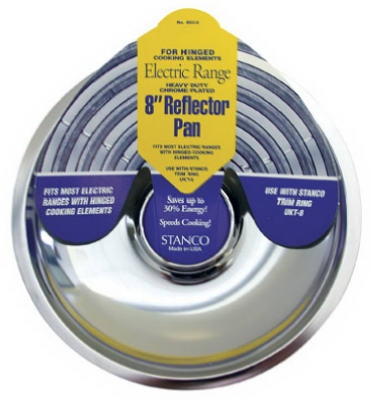 Electric Range Reflector Pan, Fixed-Element, Chrome, 8-In.