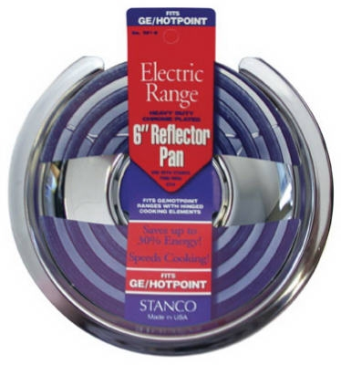 Electric Range Reflector Pan, Hinged-Element, Chrome, 6-In.
