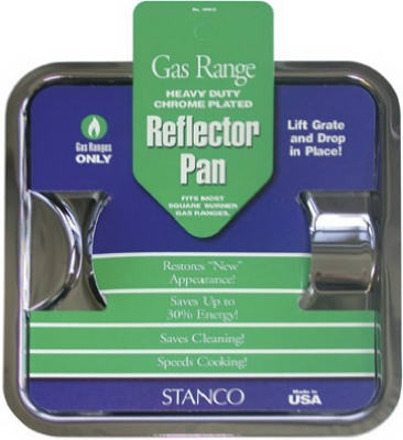 Gas Range Reflector Pan, Square, Chrome 7.75-In.