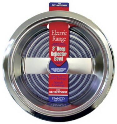 Electric Range Reflector Bowl, Deep Inset, Chrome, 8-In.