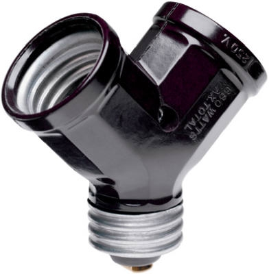 Single to Twin Lampholder Adapter, Black