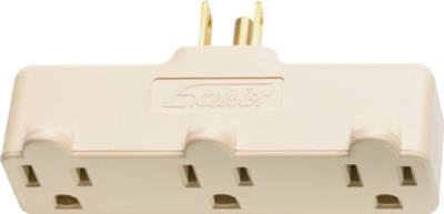 15A Ivory Heavy-Duty Plug In Triple Outlet Adapter