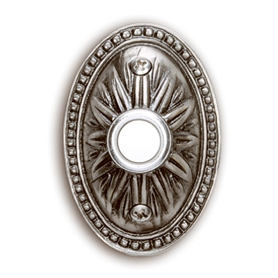 Wired Oval Push Button, Pewter