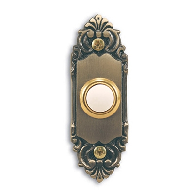 Wired Push Button, Antique Brass