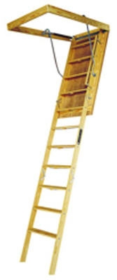 Wood Attic Ladder, 8-Ft. 9-Inch -10-Ft. 350-Lb. Load Capacity