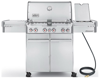 Summit S-470 4-Burner Natural Gas Grill + Side Burner & Rotisserie, 48,800 BTU