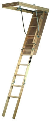 Wood Attic Stairways Ladder, 54-Inch x 8-Ft. 9-Inch 250-Lb. Rated
