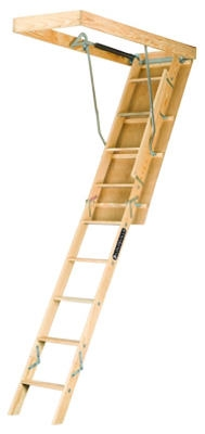 Adjustable Wood Attic Ladder 250-Lb. Load Capacity