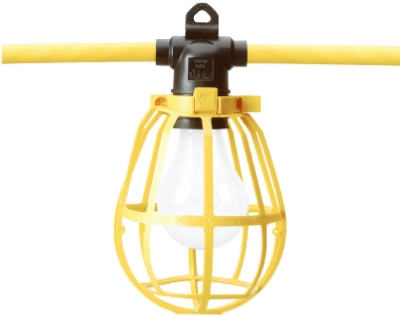 5 Molded Light Sockets, 50-Ft. Yellow Cord
