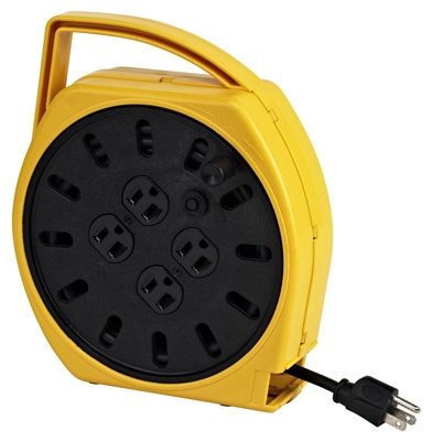 Multi-Plug Cord Reel, 4 Outlets, Circuit Breaker